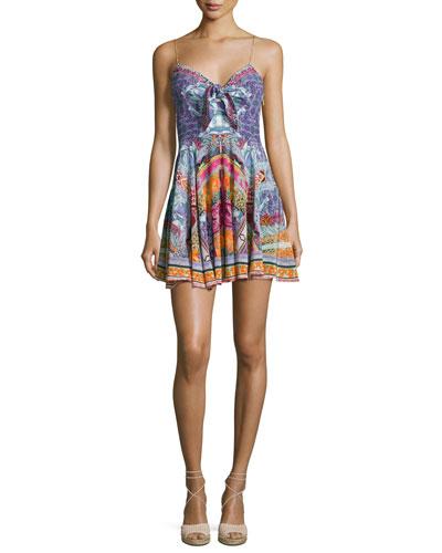 Embellished Tie-Front Sleeveless Mini Dress, Sunday Best