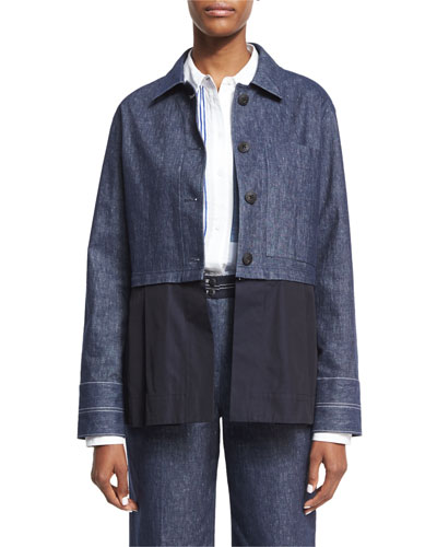 York Chambray Button-Front Jacket, Indigo