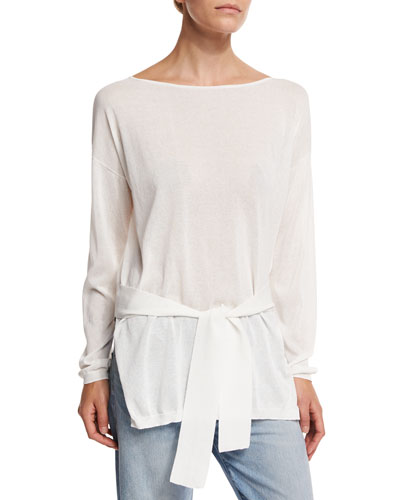 Elise Long-Sleeve Semisheer Cropped-Back Top, Ivory
