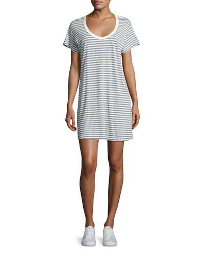 The Slouchy Scoop-Neck T-Shirt Dress, Blue Stripe