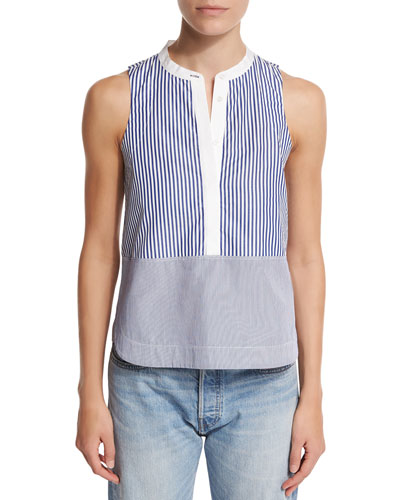 Jacey Sleeveless Striped Poplin Top, Multicolor