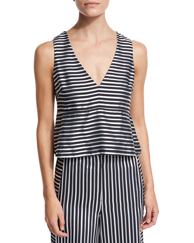 Joanna Sleeveless Striped Satin Peplum Top, Navy