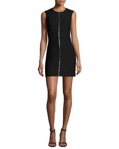 Susannah Sleeveless Full-Zip Bodycon Mini Dress, Black