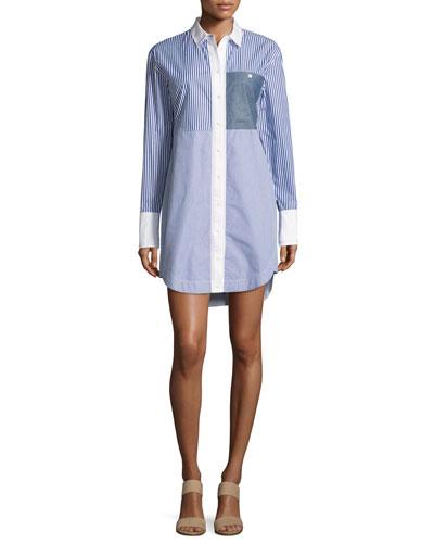 Jay Long-Sleeve Striped Shirtdress, Multicolor