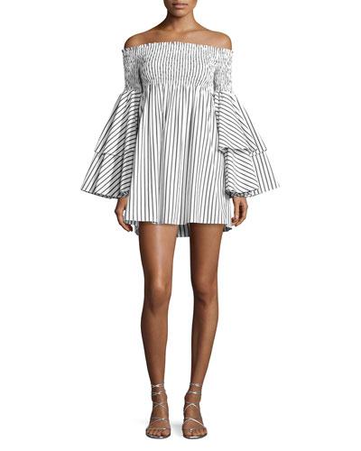 Apollonia Off-the-Shoulder Striped Dress, White/Black
