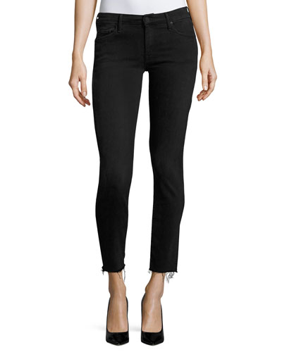 Looker Ankle Skinny Jeans with Frayed Hem, Blackbird