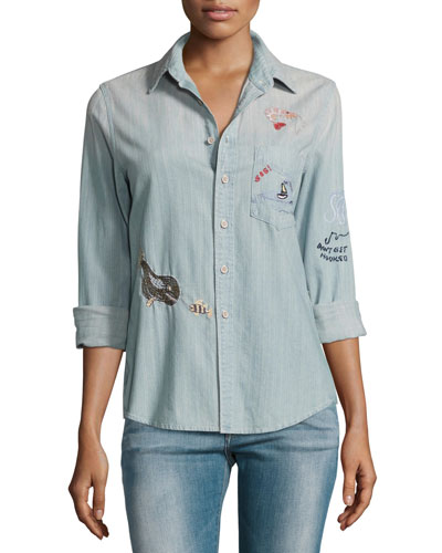 Foxy Boxy Buried Treasure Embroidered Shirt, Indigo