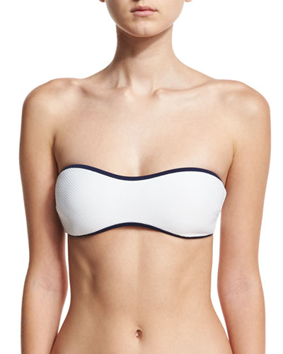 St. Kitts Binding Bandeau Swim Top, White