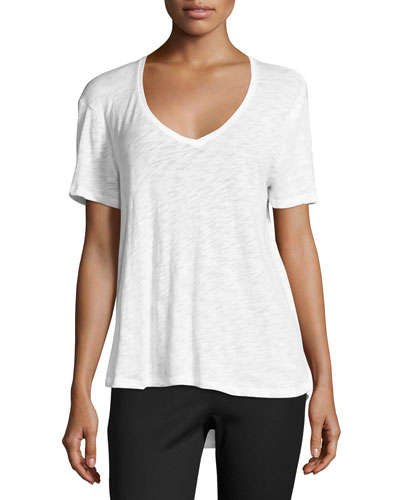 Fluid Cotton Jersey Tee, White