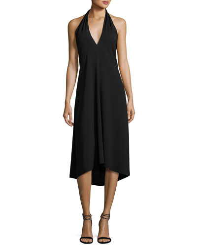 Araci Rosina Crepe V-Neck Halter Midi Dress, Black