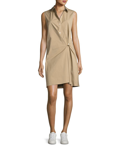 Lenmana Stretch-Cotton Sleeveless Shirtdress, Beige