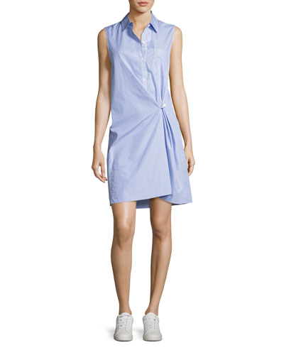 Lenmana Taff Striped Cotton Sleeveless Shirtdress, Blue