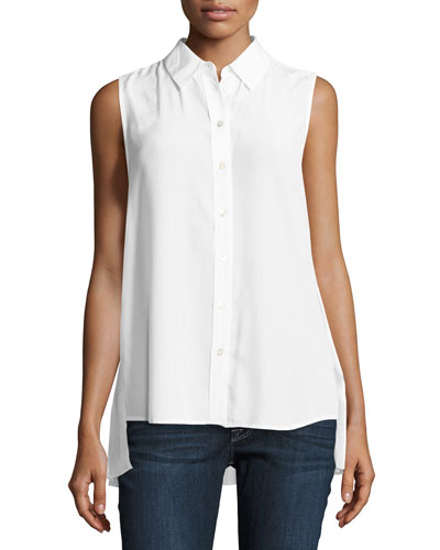 Pleated-Back Sleeveless Slim Signature Shirt, White