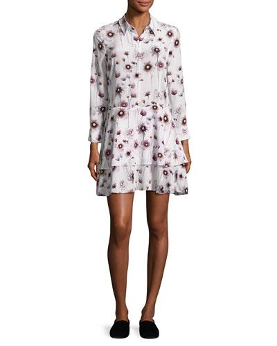 Natalia Floral Tiered Silk Shirtdress, White