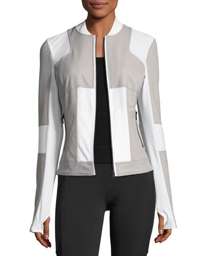 Run Mesh-Panel Bomber Jacket, Gray/White