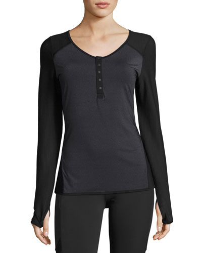 Two-Tone Henley Performance Tee, Charcoal