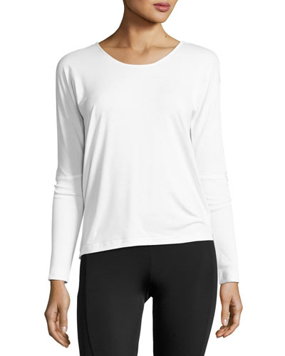 Drapey V-Back Long-Sleeve Tee, White