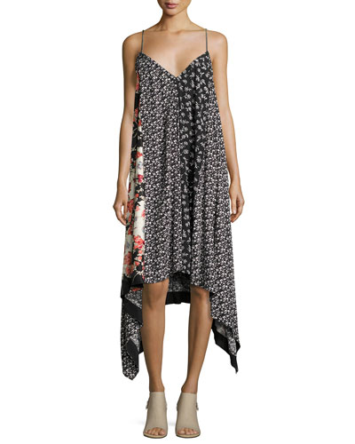 Londar Floral-Print Sleeveless Handkerchief-Hem Dress, Black