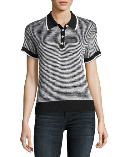 Finn Button-Up Polo Sweater, Black/White