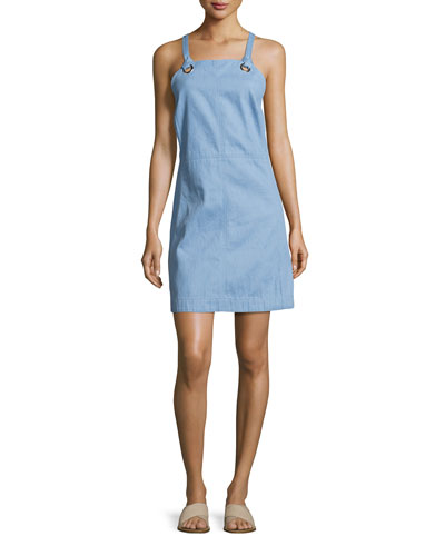 Suffolk Denim Apron Dress, Pale Blue