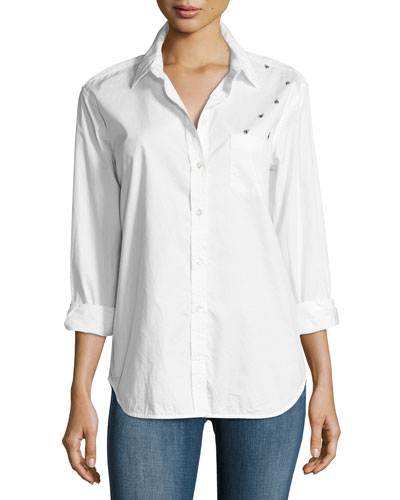 Kenton Insect Cotton Shirt, White