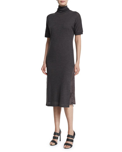 Short-Sleeve Turtleneck Dress
