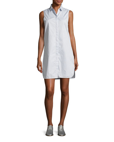 Janna Striped Poplin Sleeveless Shirtdress, Blue/White