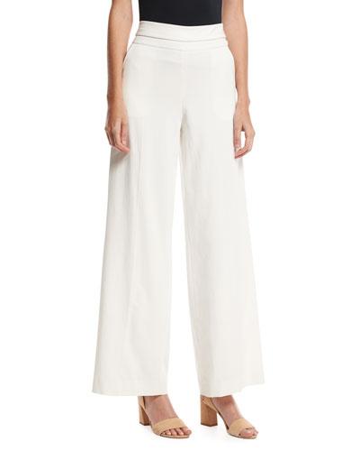 Wide-Leg Tux Pants, Off White