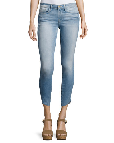 Le Skinny De Jeanne Cropped Jeans with Tulip Hem, Easton
