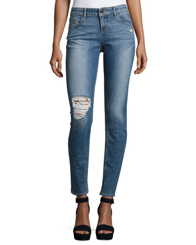 Jane Distressed Skinny Jeans, Light Blue