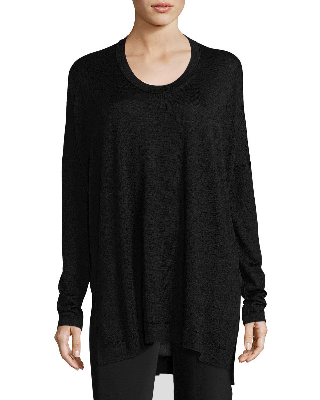 Oversized Crewneck Tunic Sweater, Black