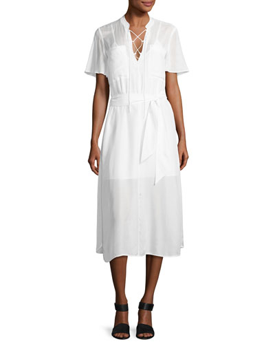 Lace-Up Midi Shirtdress, Blanc