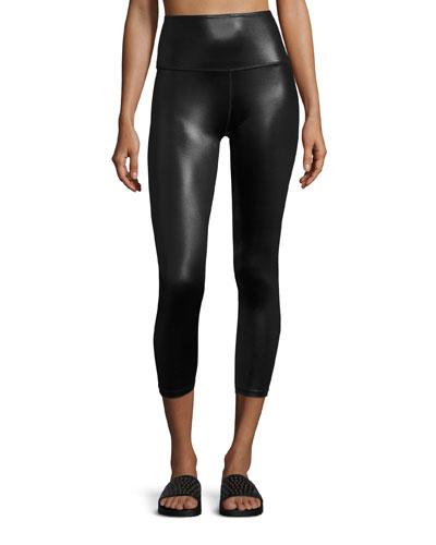 Gloss Over High-Waist Capri Legging, Black