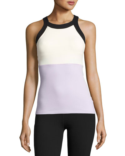 x kate spade new york blocked band racer tank, lilac charm