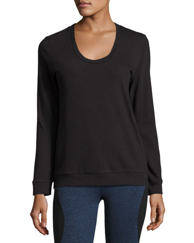 Strappy-Back Long-Sleeve Performance Pullover, Black