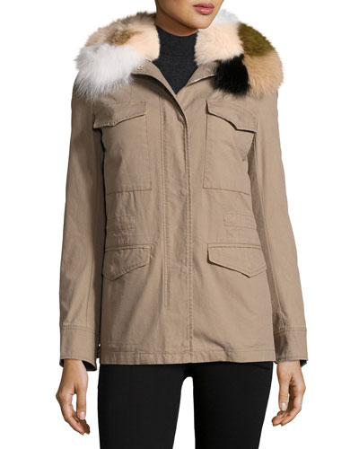 Short Canvas Coat w/Camo Fox Fur Collar, Forest