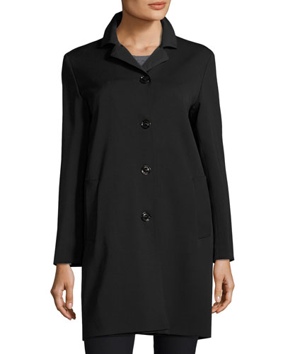 Wool-Bend Four-Button Coat, Black