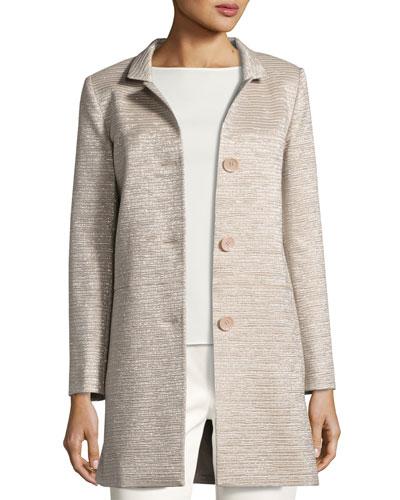 Notch-Collar Three-Button Coat, Blush