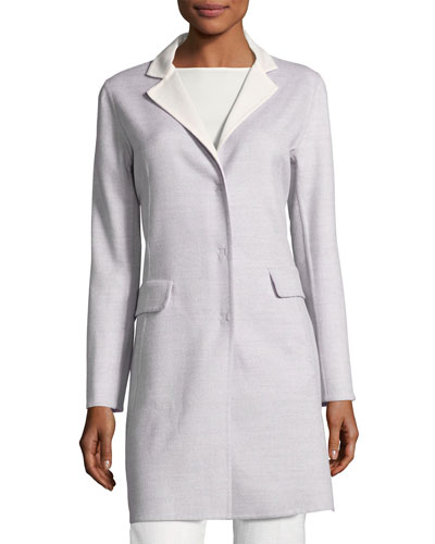 Notch-Collar Wool Coat, Gray