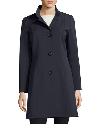 Button-Front A-Line Jacket, Navy