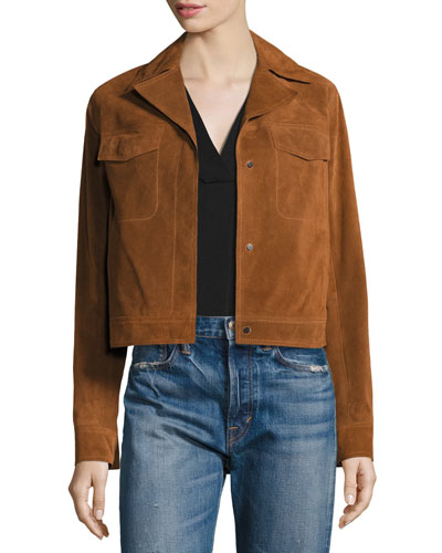 Suede Moto Jacket, Tan (Brown)
