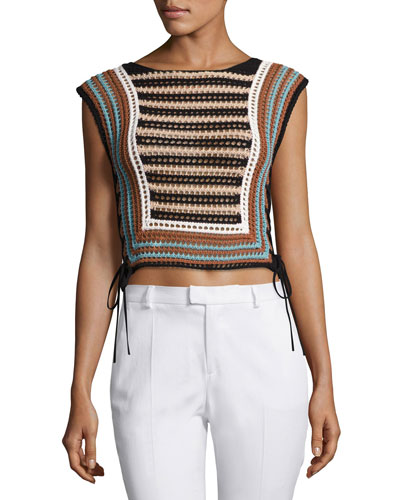 Mixed-Knit Striped Sweater Vest, Multi