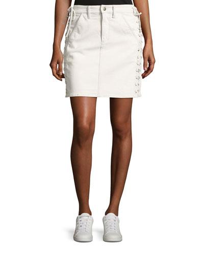 Ringo Laced Denim Skirt, White