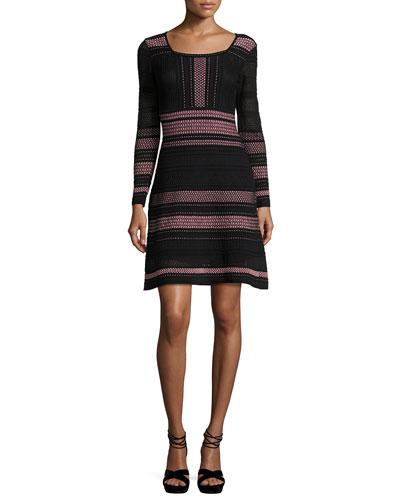 Long-Sleeve Striped Rib-Stitched Mesh-Knit Dress, Petal