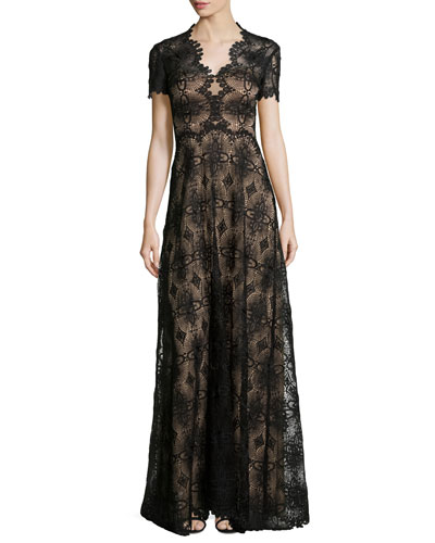 Short-Sleeve Lace-Embroidered Gown, Black/Almond