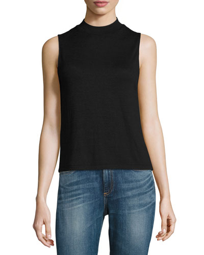 Hudson Heathered Mock-Neck Open-Back Top, Black/Gray