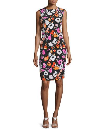 Sleeveless Mixed Poppy-Print Dress, Black