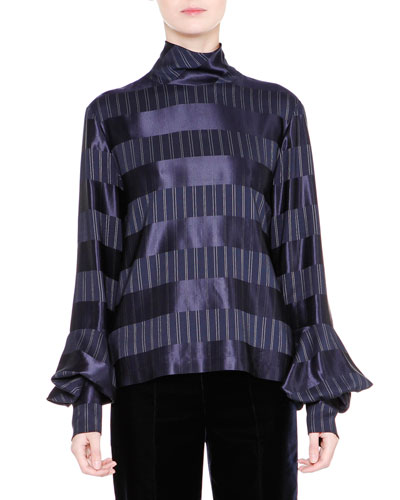 Striped Mock-Neck Bell-Sleeve Top, Navy