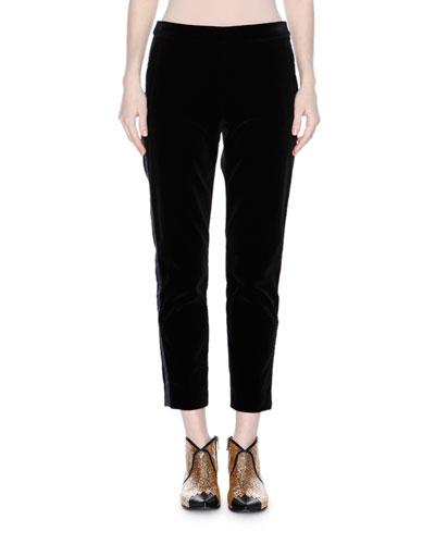 Mid-Rise Velvet Cropped Pants, Black