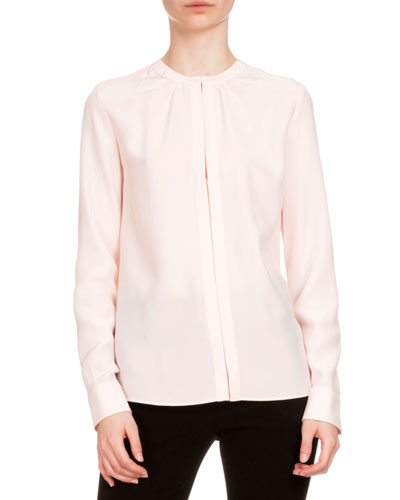 Marie Long-Sleeve Blouse, Natural White